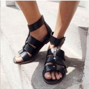 Madewell Rowan Black Leather Gladiator Sandals